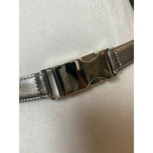 Moschino  Pewter Leather Belt Silver Logo Buckle